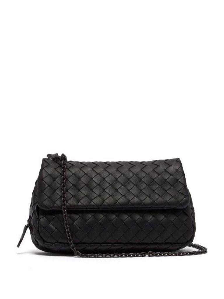 Bottega Veneta - Intrecciato Mini Leather Cross Body Bag - Womens - Black