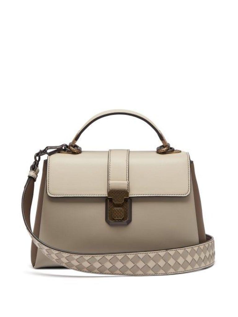 Bottega Veneta - Piazza Small Leather Bag - Womens - Grey Multi