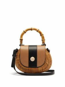 Wai Wai - Marina Wicker Basket Bag - Womens - Black Nude