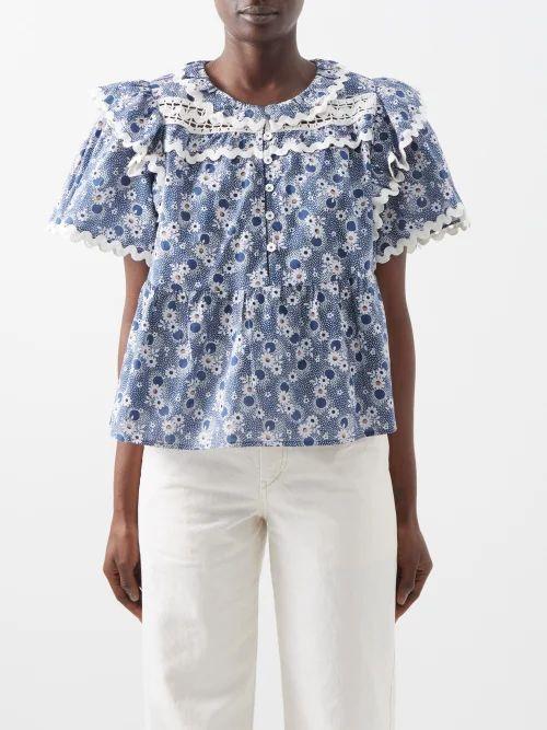 D'ascoli - Fresco Floral Print Silk Midi Dress - Womens - Pink
