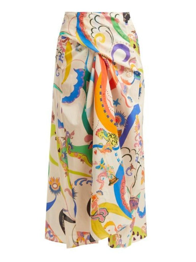 Etro - Abstract Printed Tie Front Cotton Skirt - Womens - White