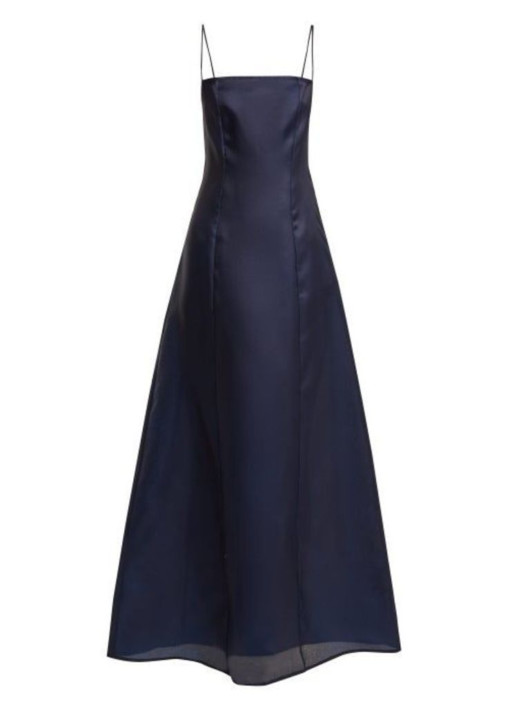 Albus Lumen - Noche Silk Organza Maxi Dress - Womens - Navy