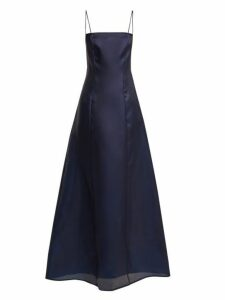 Albus Lumen - Noche Silk Organza Maxi Dress - Womens - Navy