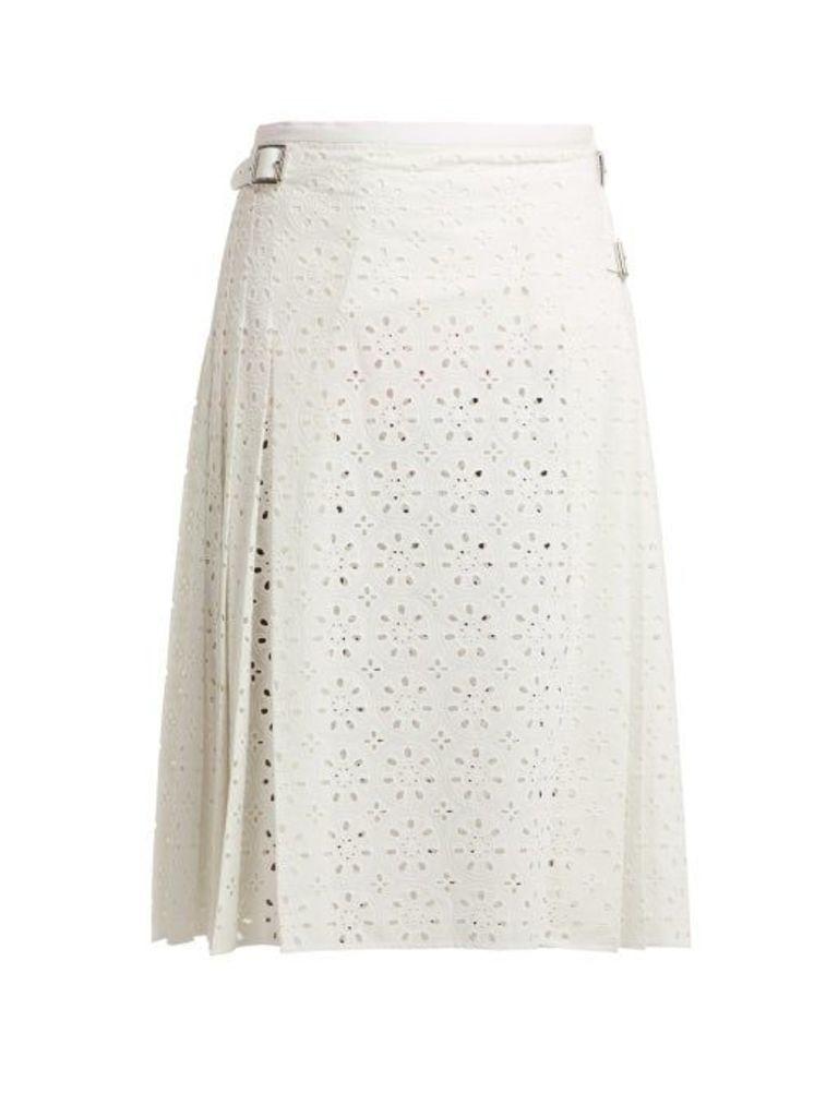 Christopher Kane - Cotton Broderie Anglaise Kilt Skirt - Womens - White
