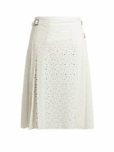 Christopher Kane - Cotton Broderie Anglaise Kilt Skirt - Womens - White