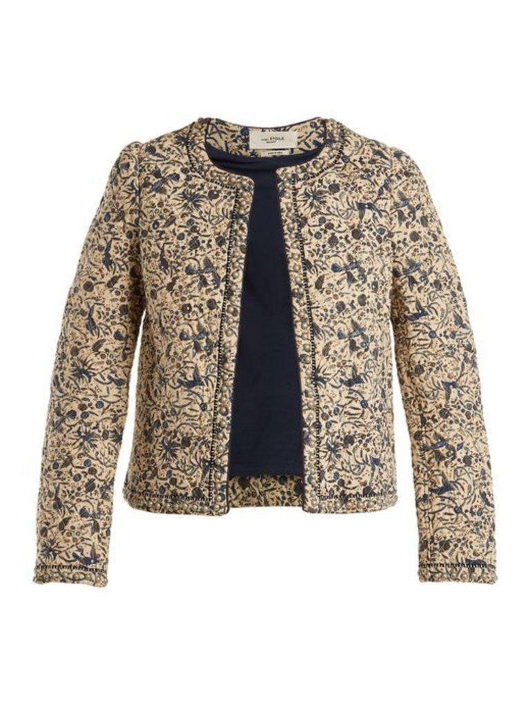 Isabel Marant étoile - Hustin Floral Print Quilted Cotton Blend Jacket - Womens - Beige Print