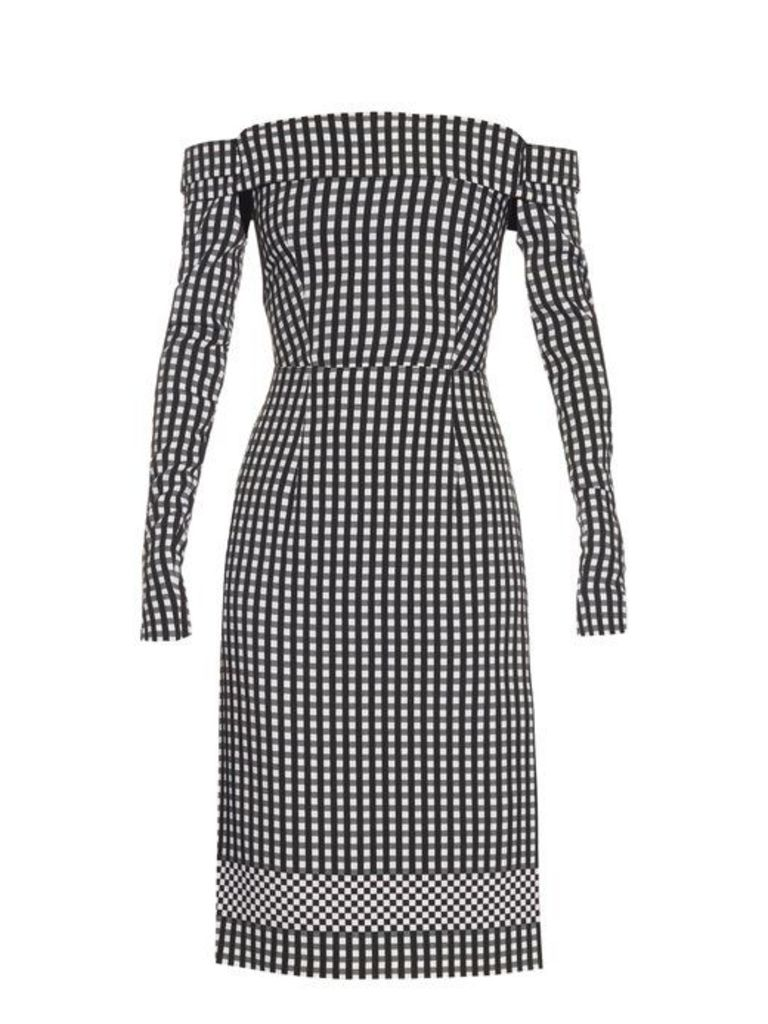 Preen By Thornton Bregazzi - Olivia Off The Shoulder Gingham Dress - Womens - Black White