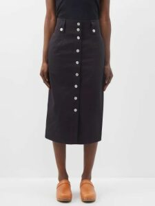 Caroline Constas - Striped Tie Waist Cotton Midi Skirt - Womens - Black White