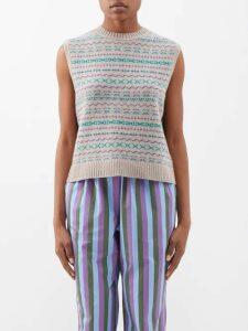 Raey - V Neck Fine Knit Cashmere Sweater - Womens - Dark Green