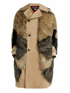 Junya Watanabe - Faux Fur Panel Cotton Blend Sleeveless Trench Coat - Womens - Beige Multi