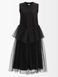 Marni - Spangled Print A Line Crepe Skirt - Womens - Blue Print