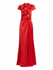 Saloni - Kelly Bow Detail Silk Satin Dress - Womens - Red
