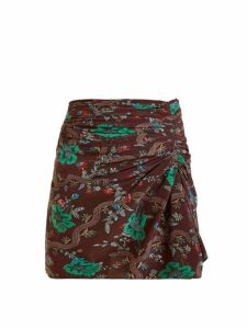 Isabel Marant - Ruffle Floral Print Skirt - Womens - Burgundy Multi