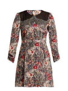 No. 21 - Floral Print Embellished Silk Mini Dress - Womens - Red Multi