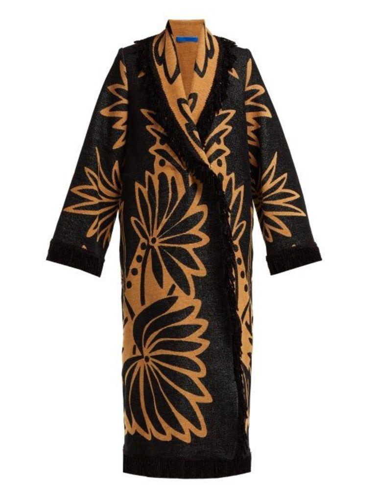 Marit Ilison - Palm Intarsia Tasselled Cotton Coat - Womens - Black Multi