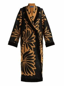 Marit Ilison - Palm Intarsia Tasselled Cotton Coat - Womens - Black Multi