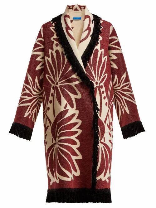 Marit Ilison - Palm Intarsia Tasselled Cotton Coat - Womens - Burgundy White