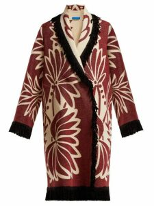 Marit Ilison - Palm Intarsia Tasselled Cotton Coat - Womens - Burgundy White