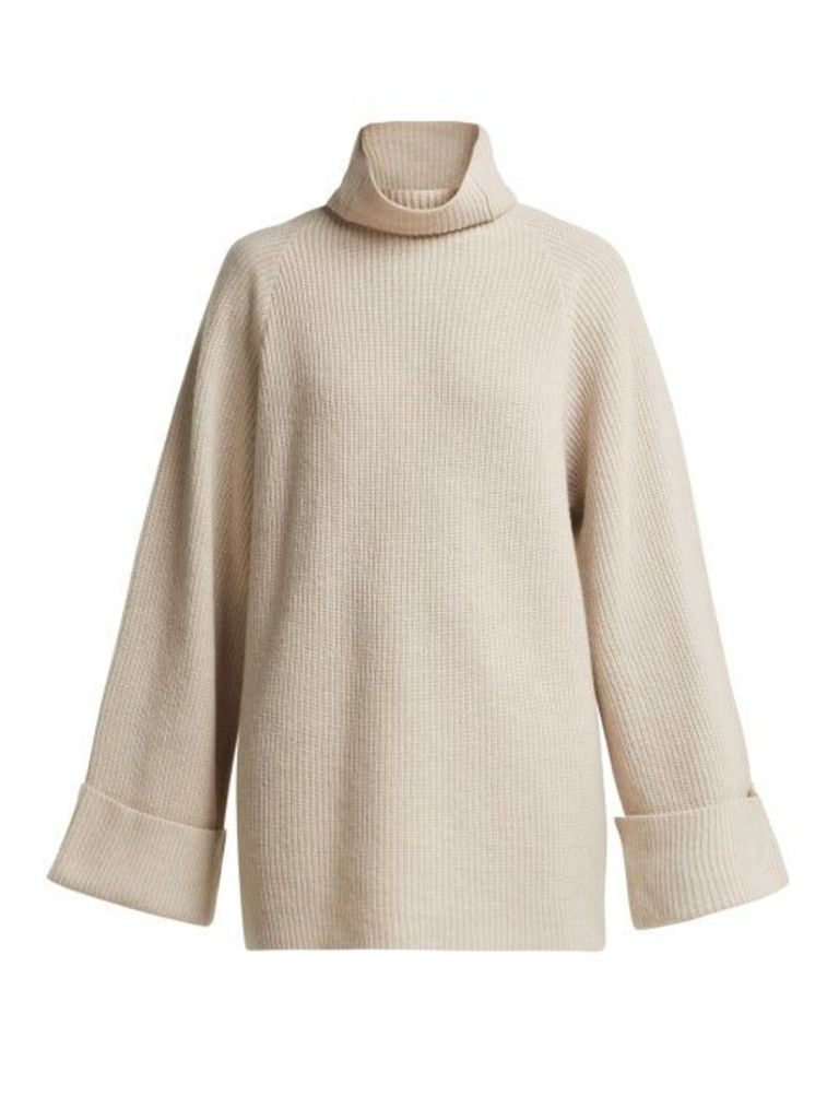 Raey - Wide Sleeve Ribbed Roll Neck Wool Sweater - Womens - Grey