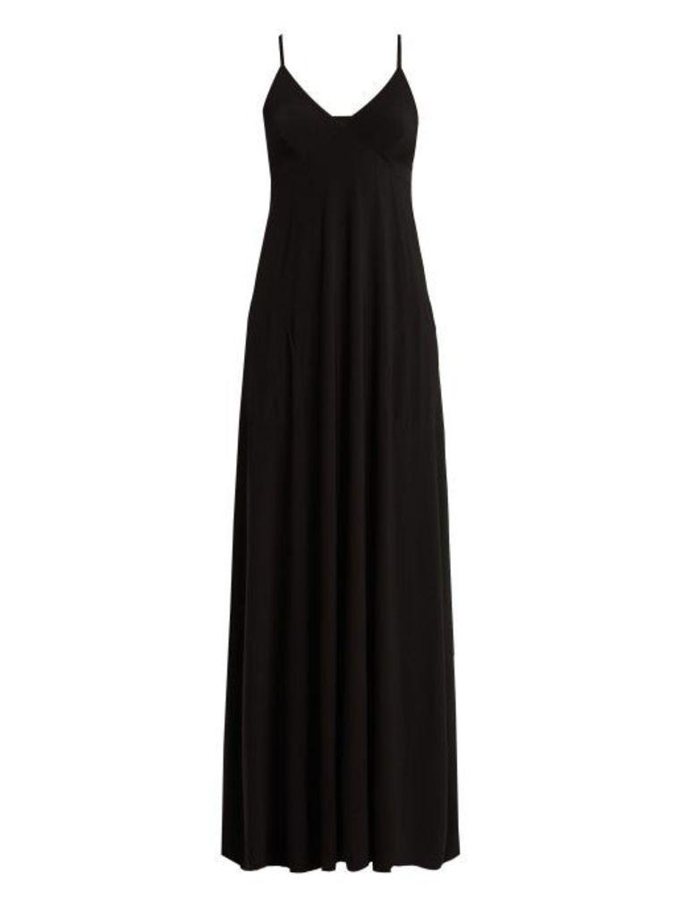 Norma Kamali - V Neck Jersey Slip Dress - Womens - Black