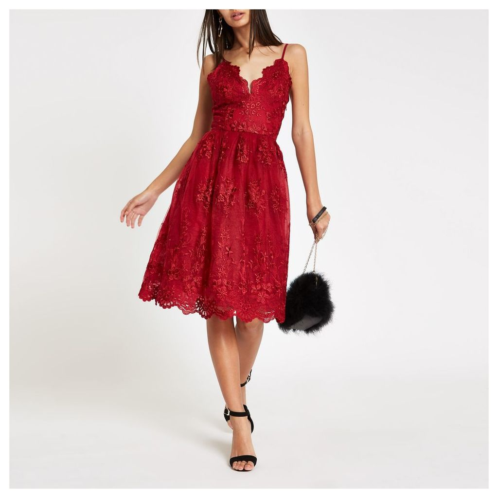 Womens Chi Chi London Red lace floral prom dress