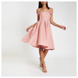 Womens Chi Chi London Pink bardot neck prom dress