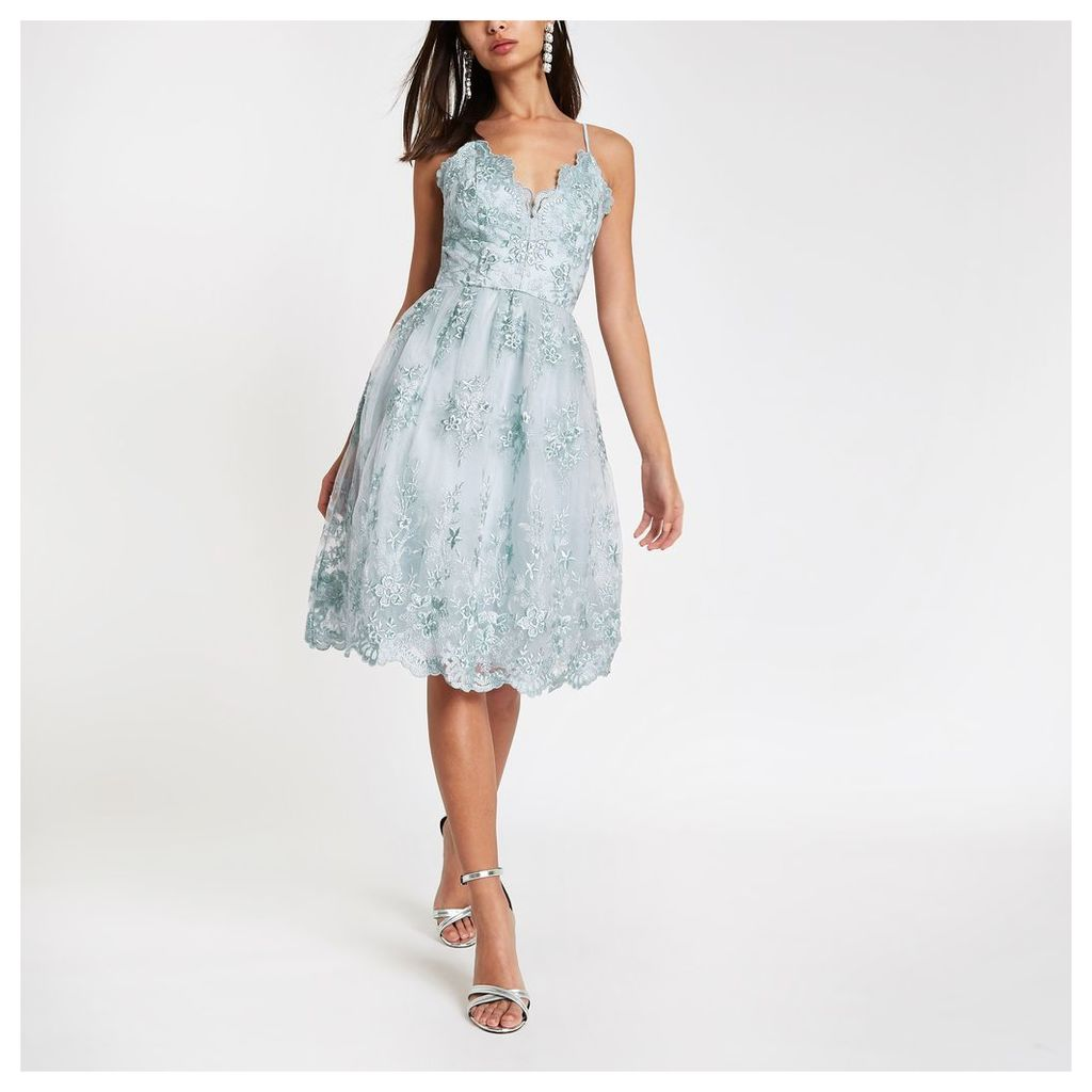 Womens Chi Chi London Blue lace floral prom dress