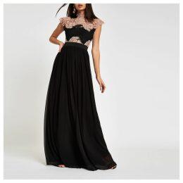 Womens Forever Unique Black lace maxi dress