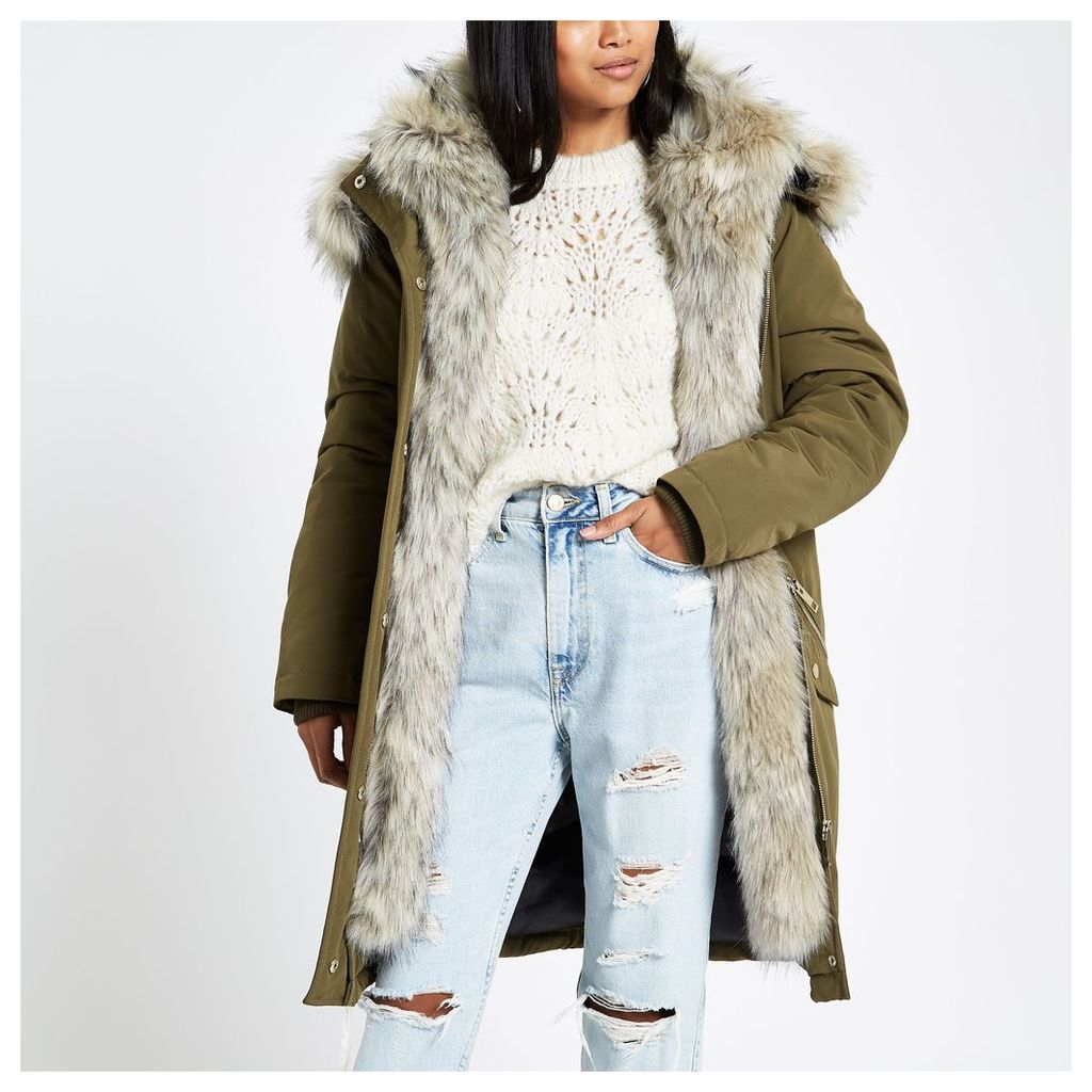 Womens Petite Khaki faux fur hooded parka
