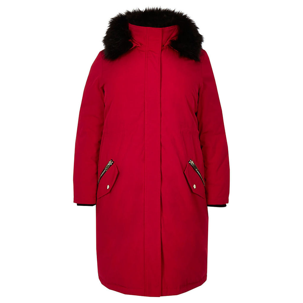 Womens Plus Red faux fur hooded parka