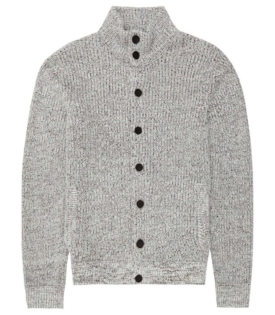 Reiss Brendon - Chunky Knitted Cardigan in Beige, Mens, Size XXL