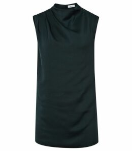 Reiss Solar - High Neck Top in Teal, Womens, Size 14