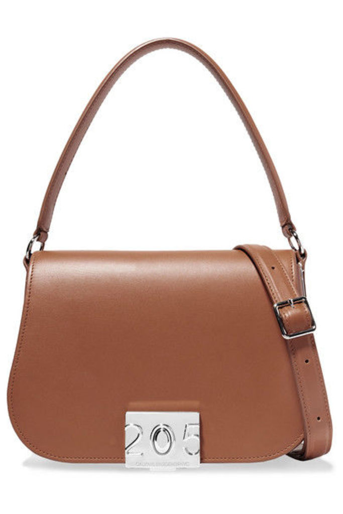 CALVIN KLEIN 205W39NYC - Bonnie Grosgrain-trimmed Leather Shoulder Bag - Tan