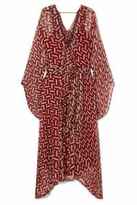 Cloe Cassandro - Gabriella Printed Silk-crepon Kimono - Claret