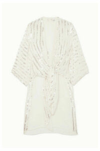 Temperley London - Neri Tie-front Sequin-embellished Crepe Kimono - Ivory