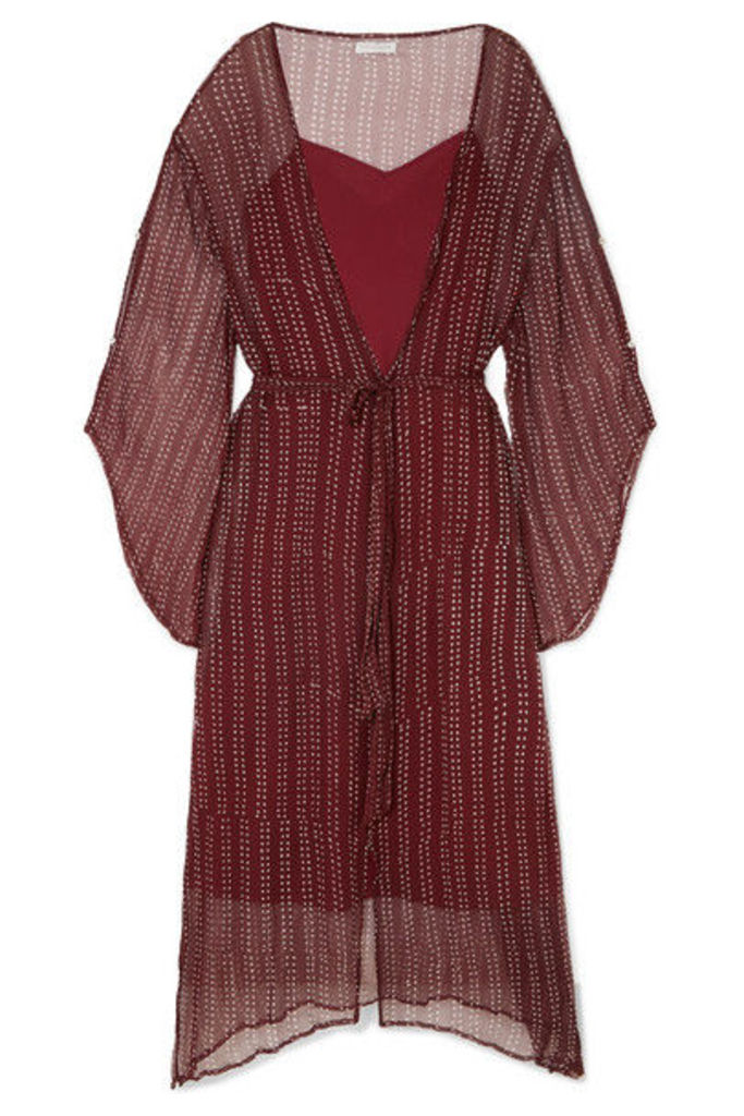 Cloe Cassandro - Fifi Belted Silk-crepon Dress - Claret