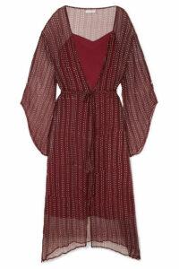 Cloe Cassandro - Fifi Belted Silk-crepon Dress - Claret
