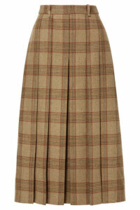 Gucci - Belted Checked Wool Midi Skirt - Beige