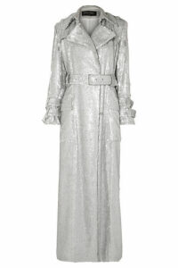Balmain - Sequined Crepe Trench Coat - Silver