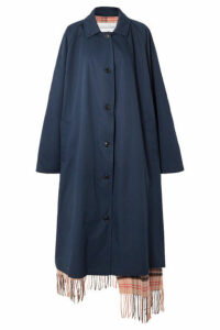 Vetements - Oversized Reversible Gabardine And Tartan Wool Trench Coat - Navy