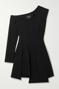 SAINT LAURENT - One-shoulder Wool Mini Dress - Black