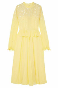 Stine Goya - Gala Ruffled Sequin-embellished Chiffon Midi Dress - Pastel yellow