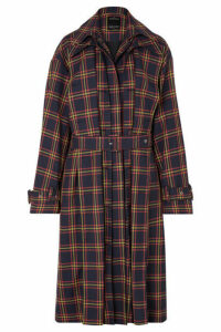 Rokh - Tartan Twill Trench Coat - Navy