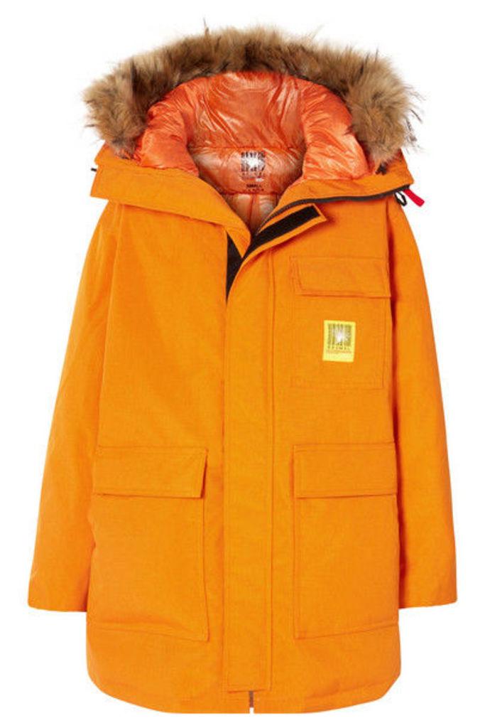 Brumal - Hooded Faux Fur-trimmed Shell Down Parka - Orange