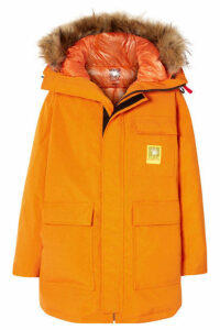 Brumal - Hooded Faux Fur-trimmed Shell Down Parka - Orange