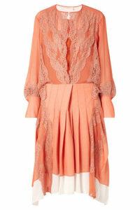 Chloé - Lace-trimmed Mousseline And Pleated Crepe Midi Dress - Orange