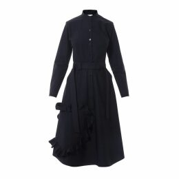 Talented - Mandarin Collar Shirtdress With Ruffle Heart Applique Black