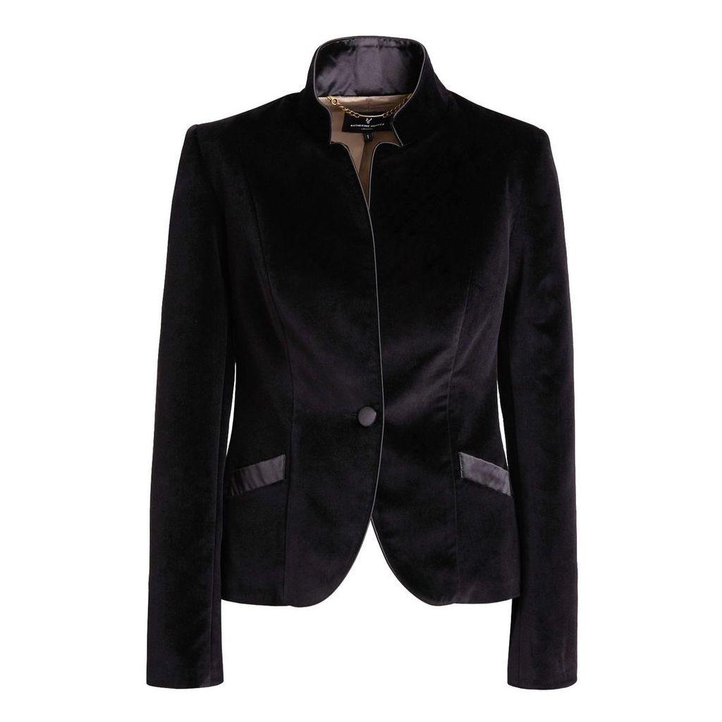 Katherine Hooker - Tallulah Jacket In Black Cotton Velvet