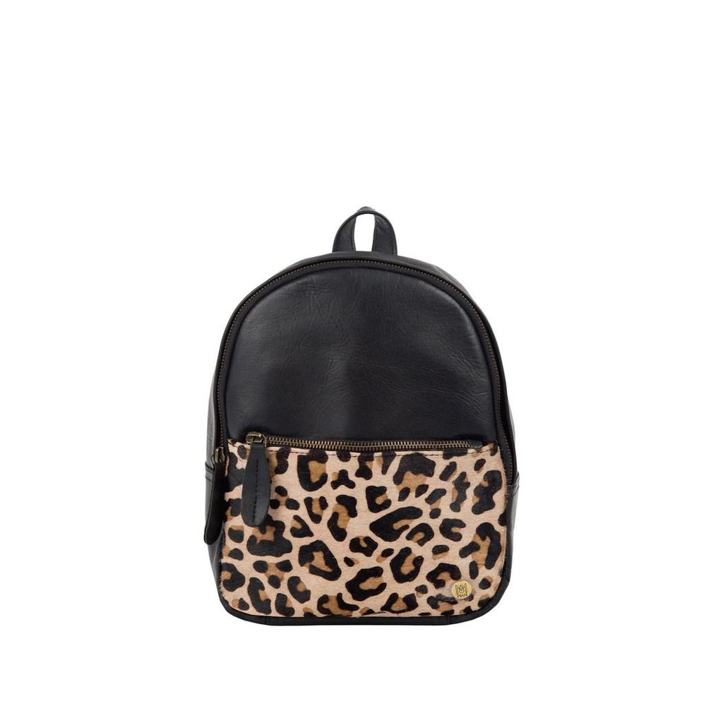 MAHI Leather - Mini Backpack In Ebony Black Leather With Leopard Print Pony Hair Front Pocket
