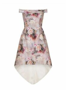 **Chi Chi London Pink Floral Bardot Dress, Pink